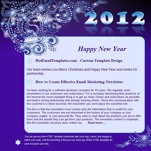 Happy New 2012 Year Free Html E Mail Templates