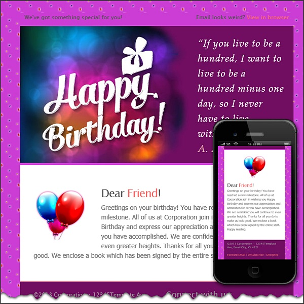 Happy Birthday  Free Html EMail Templates