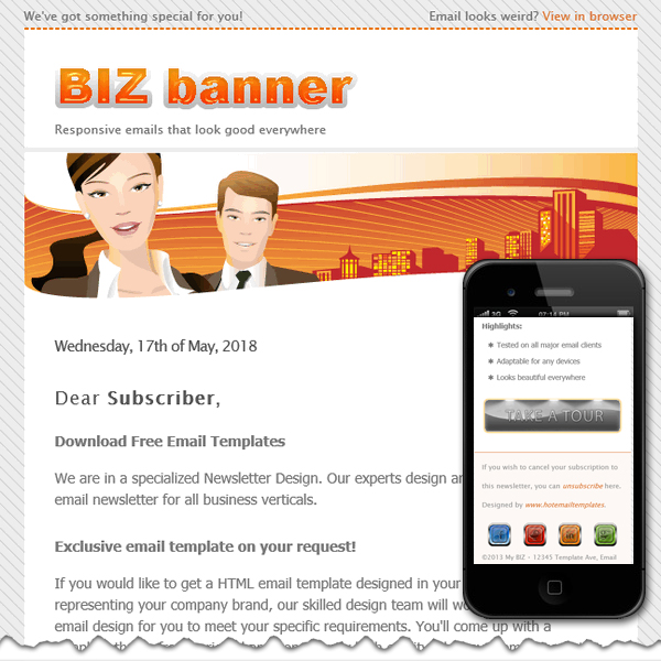 Free premium html email templates business banner accmission Image collections