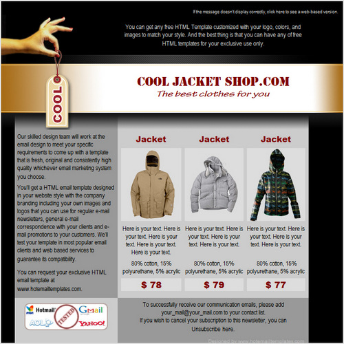 cool html email templates - cool shop free html e mail templates