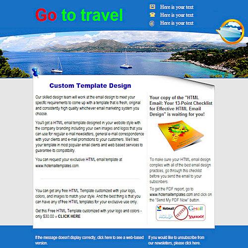 go to travel free html e mail templates