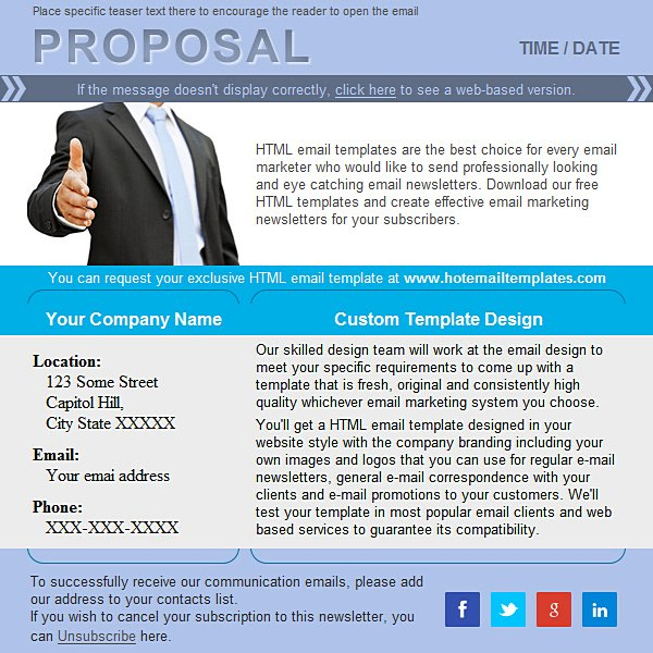 Great Proposal Free Html E Mail Templates