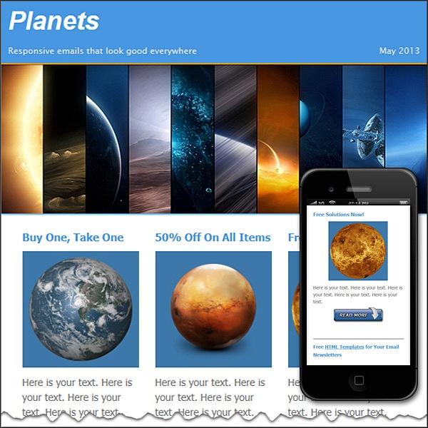 planets free html e mail templates