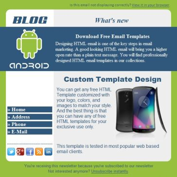 Email Template: Android-blog