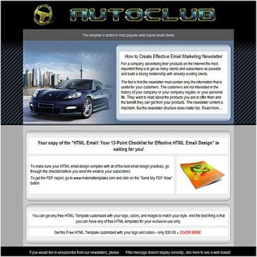 Email Template: Auto Club
