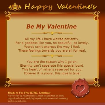 Email Template: Be my valentine!