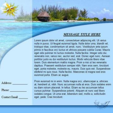 Email Template: Beach holiday