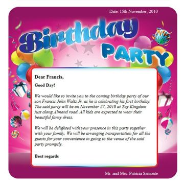 Email Template: Birthday party