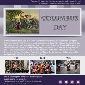 Email Template: Columbus Day