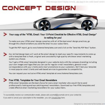 Email Template: Concept design