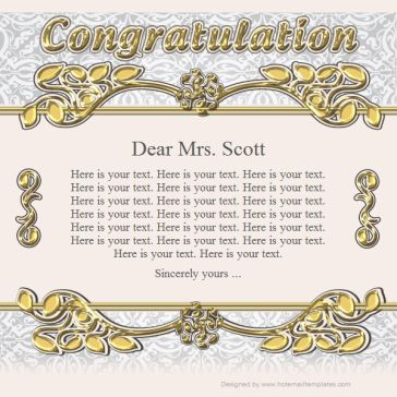 Email Template: Congratulation
