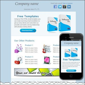 Email Template: Blue background