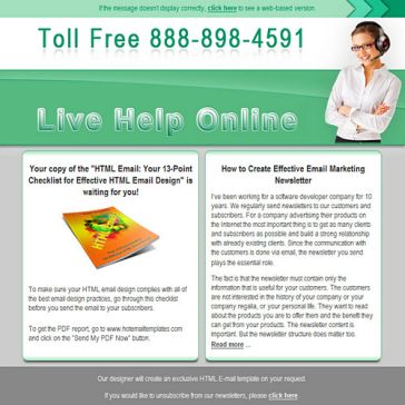 Email Template: Live help online