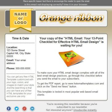 Email Template: Orange ribbon