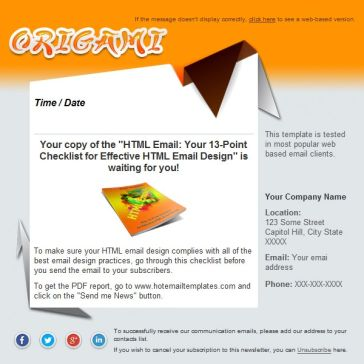 Email Template: Origami