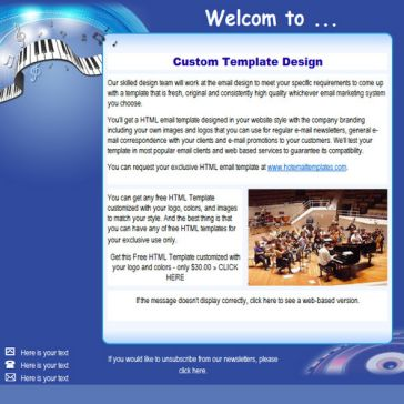 Email Template: Piano Music