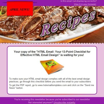 Email Template: New recipes