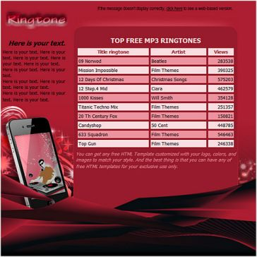 Email Template: Mobile ringtones