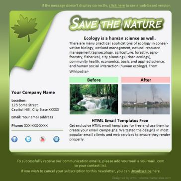 Email Template: Save nature