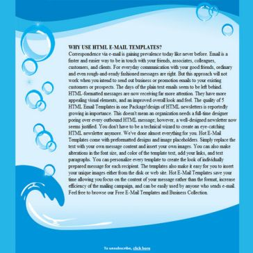 Email Template: Water and bubbles