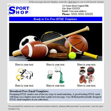 Email Template: Sport Shop