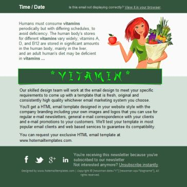 Email Template: Vitamins
