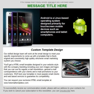 Email Template: Android platform