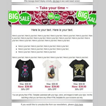 Email Template: Big Sales
