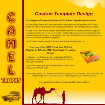 Email Template: Camel Trophy