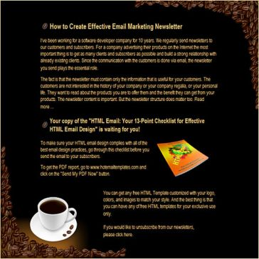 Email Template: Cup of coffee