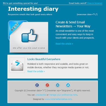 Email Template: Interesting diary