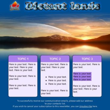 Email Template: Distant lands