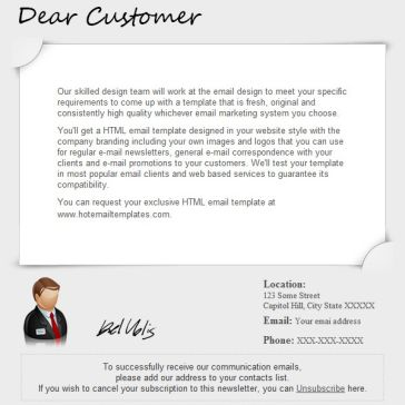 Email Template: For customer