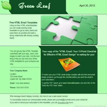 Email Template: Green leaf