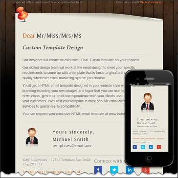 Email Template: Note on board