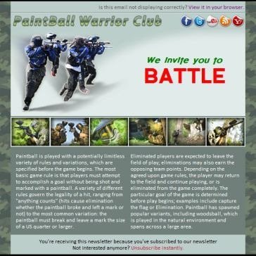 Email Template: Paintball